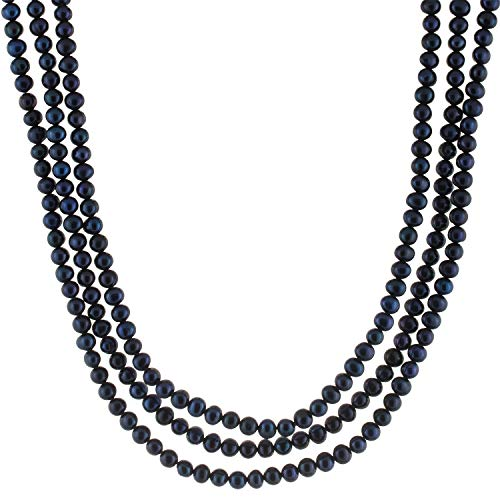 Handpicked A Quality 5-6mm Black with Blue Overtone Freshwater Cultured Pearl Strand Endless 80
