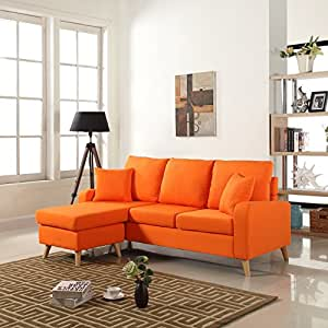 Amazoncom mid century modern linen fabric small space for Small sectional sofa amazon