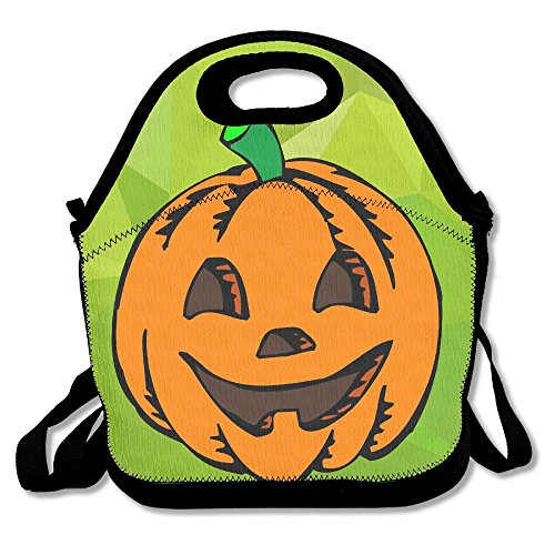 Hoeless Happy Halloween Insulated Lunch Bag With Zipper,Carry Handle And Shoulder Strap For Adults Or Kids Black