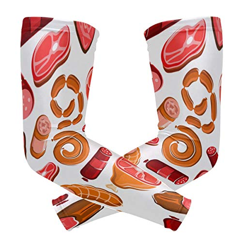 NQEONR Sports Athletic Arm Sleeve BBQ Theme Food Delicious Buffet Meat Print Compression Sleeves Arm Warmer Moisture Wicking Uv Protection for Youth Adult Outdoor Sunblock Protective Gloves Sleeves ()