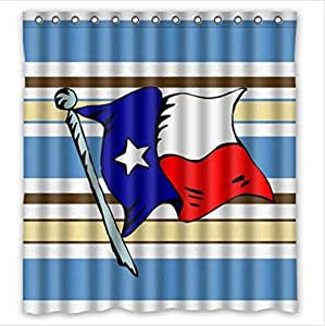 Best Seller Texas State Flag And Blue And Brown Stripe Custom 100% Polyester Waterproof Shower Curtain 66 x 72
