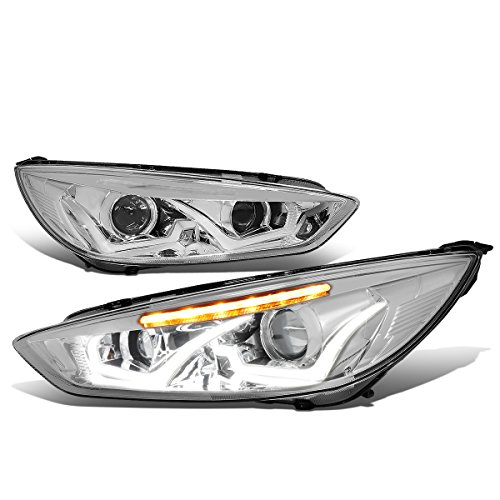 Ford Focus Pair Chrome Housing Clear Signal Dual U-HALO DRL + LED Turn Signal Projector Headlight - Focus Dual Halo Projector Headlights