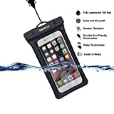 camper iphone 5c case - [IPX8 Certified]SMARCO TPU Floating Waterproof Bag With Headphone Jack, Adjustable Strap and Armband, keeping cell phone, Money, Credit cards or car keys from Water, Snow, Sand, Dirt -Black