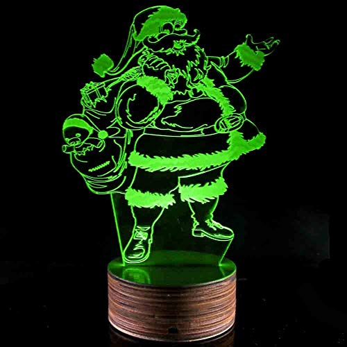 Novelty Lamp, Night Light 3D LED Lamp Optical Illusion Santa Claus, 16 Color Remote Control Changes, with USB Charging Connector, Children's Gift Toys,Ambient Light by LIX-XYD (Image #7)