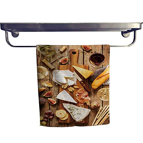 (Beach Towel, kin Cheeses Wine Baguette Fruits Snacks on rusti Wooden ,Luxury Towels Highly Absorbent Extra Soft W 12