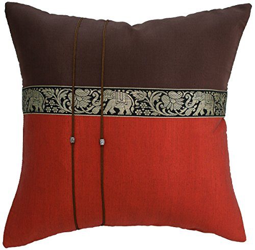 Avarada 16x16 Inch (40x40 cm) Elephant Decorative Throw Pillow Covers Case Cushion Cover for Sofa Couch Chair Bed Insert Not Included Zipper Set of One Brown Burnt Orange (Orange Silk Accent Pillow)