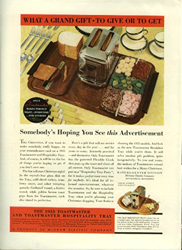 What a grand gift to give or get Toastmaster Electric Toaster & Tray ad 1934