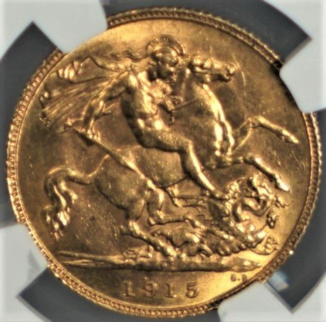 1915 AU St. George Slaying Dragon Antique Gold Australian Coin 1/2 Sovereign MS63 NGC