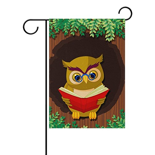 YQZsay Owl Reading Book With Glasses Double Sided Family Flag Polyester Outdoor Flag Home Party Decro Garden Flag ()
