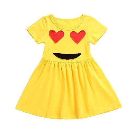 2b9f288b24ea Amazon.com: YOHA Kid Girls Cute Emoji Summer Casual Skirt Toddler Costume  Party Dress Outfit: Clothing
