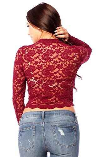 Hollywood Star Fashion - Camisas - para mujer granate