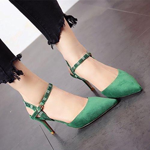 lato alto della di sexy e moda estate esili poco YMFIE green Le profonde alto donne sandali tacco temperamento scarpe tacco forte rivetti z66Ox