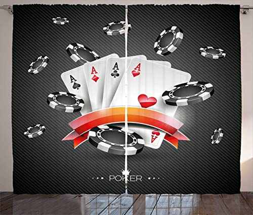 Ambesonne Poker Tournament Curtains, Artistic Display of the Spread Chips with Poker Cards Lifestyle, Living Room Bedroom Window Drapes 2 Panel Set, 108 W X 63 L Inches, Charcoal Grey White