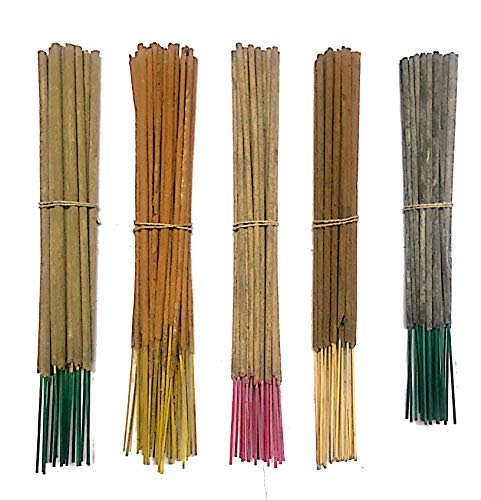 Long Incense - INA KI Hand Made Incense Sticks Premium 5 Fragrance Infused with Essential Oils Pack 40gm Each - (200 Gram Pack) Frankincense, Green Wood, Rose, Guggul (Myrrh Resin) and Sandalwood