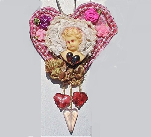 - Neo-Victorian Resin Cherub Cupid Cameo Pendant Brooch, Lace, Ribbon, Pearls, Gold, Pink Beads, Fire Opal Heart, Resin Roses.