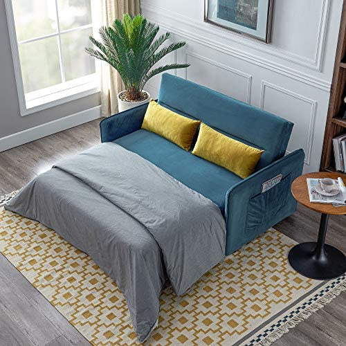 AUKUYEE Compact Sleeper Sofa Bed Velvet Pull-Out Couches
