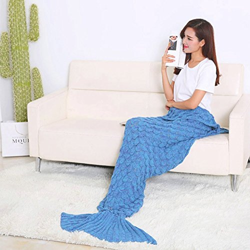 Super Soft Handmade Mermaid Tail Blanket Sofa Blankets All Seasons Living Room Sleeping Blanket Gift for Adult and Kids, Blue with Scale