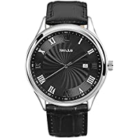 NanJue Mens Watches Waterproof, Stainless Steel Watches with Black Face and BlackLeatherBand for Family Gift or BusinessWatch