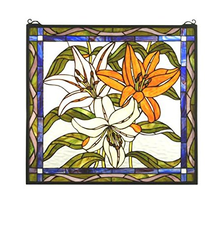 Tiffany Floral Nouveau Tigerlily Stained Glass Window - Nouveau Lily Window Windows