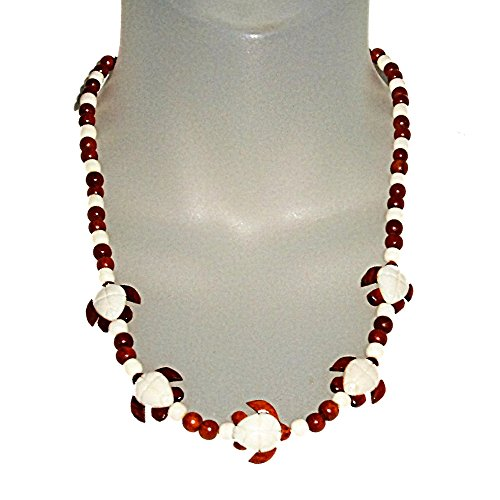 Hawaiian Honu Turtles Bone & Wood Pendant with Bayong Wood Bead Necklace