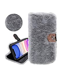 Rabbit Hair Glitter Wallet PU Leather Case for Samsung Galaxy S9, YiCTe Luxury Shiny Rhinestone Diamond Fluffy Plush Bunny Furry Fuzzy Soft Fur Cover with Card Slots,Stand,Kickstand,Light Gray