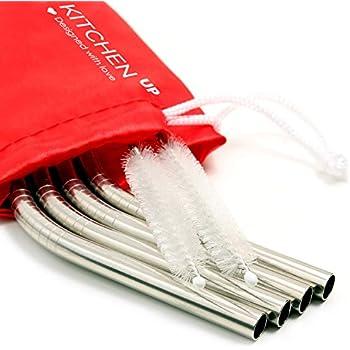 Stainless Steel Straws Complete Bundle - Reusable Straws Bpa Free - Metal Straws for Yeti / Rtic / Ozark - Reusable Straws Stainless Steel + 2 Brushes + 1 Red Pouch