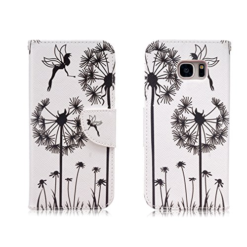 Samsung Galaxy S7 Edge Case,JinLi Printed Pattern Filio Wallet Cellphone Book Protective Cover Designed with Credit Card Slot and Money Holder and Kickstand for Hands Free video (dandelion)
