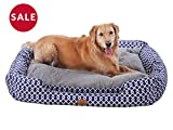 PLS Birdsong Trellis Bolster Large Dog Bed, Pet Bed, Cat Bed, Blue & Gray, Large, Removable Cover, Completely Washable, Dog beds for Large Dogs