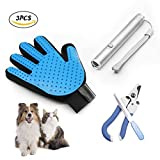 TEIBAKY [ 3 in 1 Kit ] Popular Pet Grooming Gloves,Pet Nail Clippers Trimmer for Dogs Cat Chaser & Red Light Pointer 2 in 1 Interactive Exercise Toys Kits for Dogs & Cats
