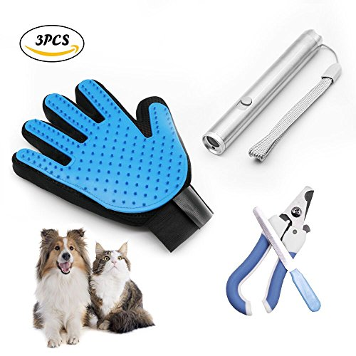 TEIBAKY [ 3 in 1 Kit ] Popular Pet Grooming Gloves