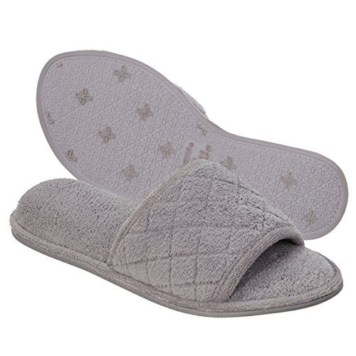 Dearfoams Indoor/Outdoor Women's Terrycloth Slide Slipper - Comfortable, Cushioned Slippers With Open-Toed Quilted Design, Grey