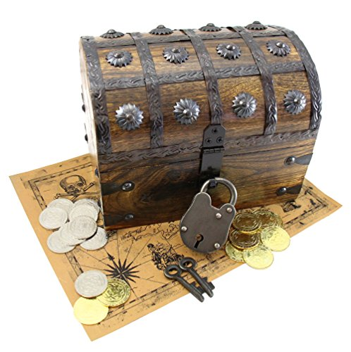 Metal Pirate Coins 32 Plus Large Treasure Chest Iron Lock Skeleton Key And Map WellPackBox - Brass Treasure Chest