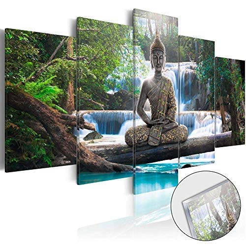 AWLXPHY Decor-Buddha Waterfall Wall Art Canvas Painting Framed 5 Panels for Living Room Decoration Modern Landscape Buddha Trees Zen Stretched Artwork Giclee (Green, 80x40)