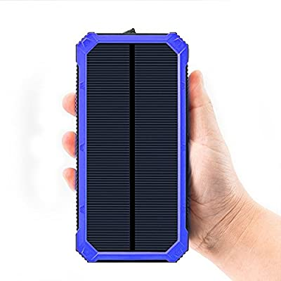 Solar Charger 30,000mAh, Solarprous Dual USB Solar Battery Charger External Battery Pack Phone Charger Power Bank with Flashlight for Smartphones ...