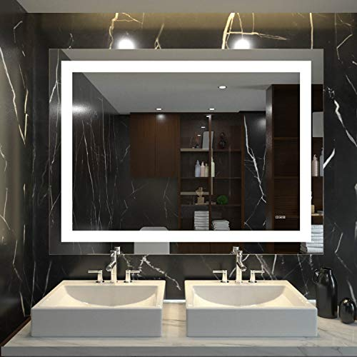 HAUSCHEN 36x48 inch LED Lighted Bathroom Wall Mounted Mirror with CRI 95 -
