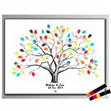 Waterproof Fingerprints Tree - 23.6'' Creative DIY Guest Signature Sign-in Book Canvas Tree Fingerprints Painting Decor for Wedding Birthday Party with 12 PCS Ink Pads