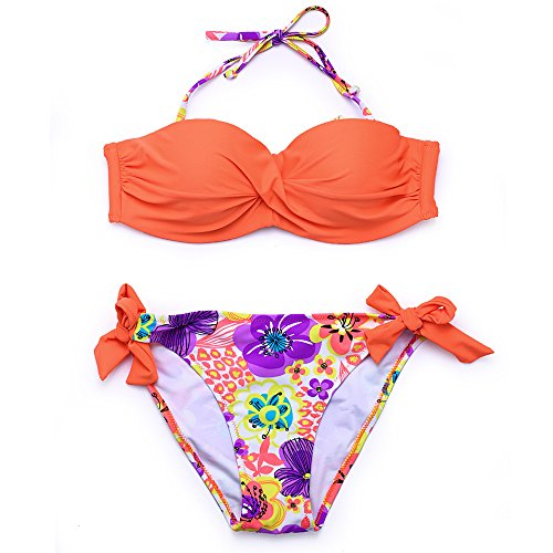 Print Underwire Tie - Women's Triangle Bikini Set Push up Two Pieces Swimsuits with Underwire & Padding Floral Print Bathing Suit Tie Side Bottom Backless Swimwear (X-Large, Orange)