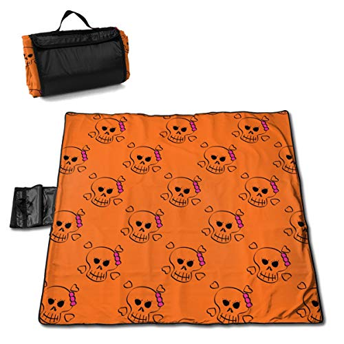 Rojia Pearl Cotton Composite Aluminum Film Skull Girl Picnic Mat 57 * 59in One Size Moisture-Proof and Non-Slip, Highly Waterproof and Anti-Frosting]()