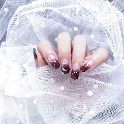 Color Lab 2019 Summer 22PCS ADHESION Nail Art Transfer Decals Sticker Moon & Star Series DIY Nail Polish Strips,Nail Wraps, 100% Real Nail polish applique for Manicure, S00803 Moon & Star (Best Nail Colors Summer 2019)