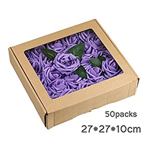 Vlovelife 50pcs Teal Blue Real Looking Fake Roses Artificial Flowers Roses Head With Stem for DIY Wedding Bouquets Centerpieces Arrangements Birthday Baby Shower Home Party Decorations 2