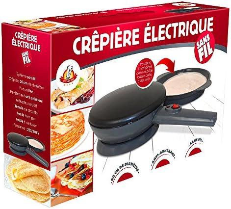 Kitchen Pro - Crêpière électrique sans Fil diamètre 20 cm avec revêtement Anti-adhérent