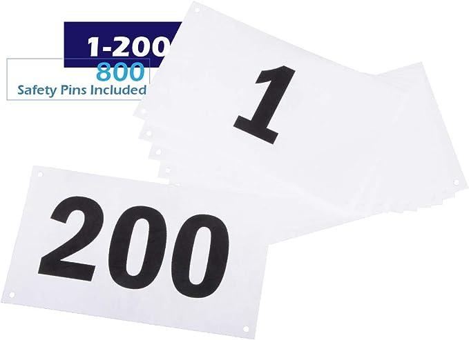 Azarxis Bavaglino da Corsa Numeri concorrenti con Spille da Balia Numeri da Corsa 1-100//1-200 Tyvek antistrappo e Impermeabile 4 x 7 Pollici per Gare di Maratona