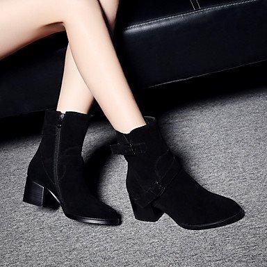 Talon Confort Daim Bottes GLL Extérieure Block Femme Heel Gros black amp;xuezi qnCIfAFwU