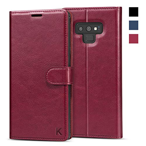 KILINO Galaxy Note 9 Wallet Case [S-Pen Fully Compatible] [Shock-Absorbent Bumper] [Card Slots] [RFID Blocking] [Kickstand] Leather Flip Case Compatible with Samsung Galaxy Note9 - Burgundy