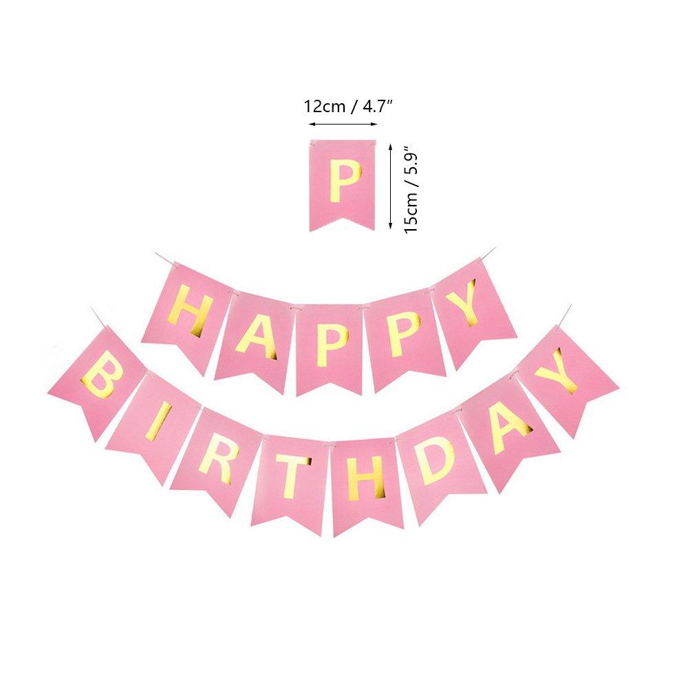 Blue Pink Birthday Banner Latex et Feuille Ballons Kit Toupons 1er Anniversaire d/écorations pour b/éb/é Fille