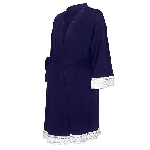 555b54375f307 Women's Robe Maternity Lace Nursing Sleepwear Belted Soft Cotton Breastfeeding  Kimono Bathrobes Nightgown (Dark Blue