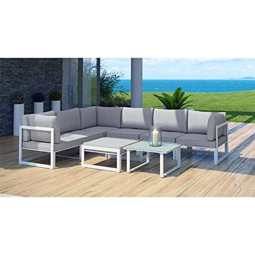 Modway Fortuna Collection EEI-1735-WHI-GRY-SET 8 PC Outdoor Patio Sectional Sofa Set with Washable Polyester Cushion Powder Coated Aluminum Frame Water and UV Resistant in White Grey (White Powder Coated Outdoor Furniture)