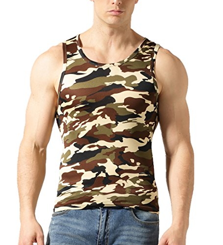 PINSAHNGBAISI Mens Camouflage Vest, Camo Sleeveless T-Shirt Underwear (L,