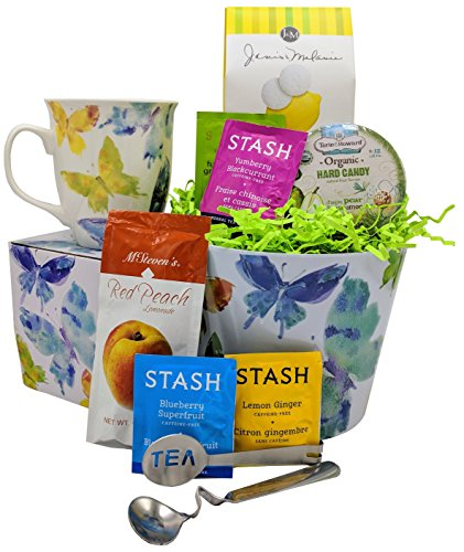 Tea Gift Basket with Mug - Includes 7