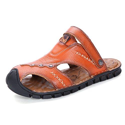 Xing Lin Sandalias De Verano Zapatos De Hombre Casual _ Verano Hombres Sandalias De Cuero Antideslizante Transpirable Sandalias Zapatillas Zapatos De Cuero De Ocio Juvenil Golden